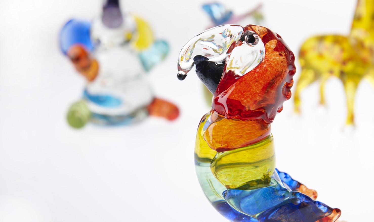 シロクマ・カメレオン・ヒツジ・サル・フクロウ・キリン・カタツムリ −composition −グラス− by ガラス工房Merhaba   / 小林大輔